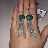 Малахіт сережки з малахітом сережки бахрома з каменем малахіт в сріблі Індія, фото 2