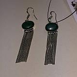 Малахіт сережки з малахітом сережки бахрома з каменем малахіт в сріблі Індія, фото 4
