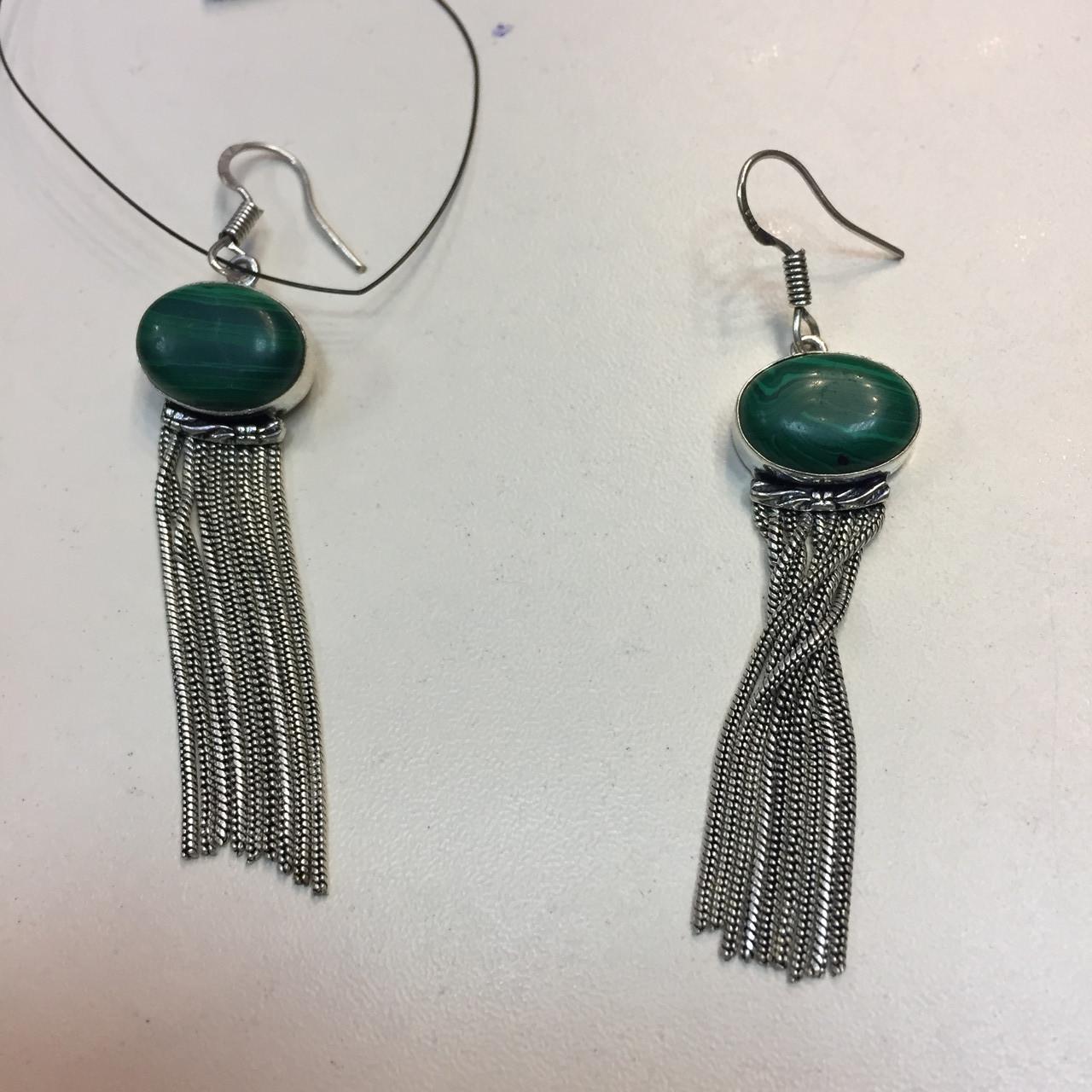 Малахіт сережки з малахітом сережки бахрома з каменем малахіт в сріблі Індія