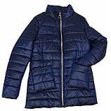 Легка жіноча демісезонна куртка з накладною кишенею, синя, розміри 48 - 54, фото 6