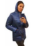 Легка жіноча демісезонна куртка з накладною кишенею, синя, розміри 48 - 54, фото 8