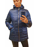 Легка жіноча демісезонна куртка з накладною кишенею, синя, розміри 48 - 54, фото 9