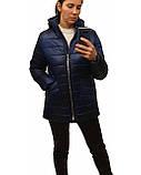 Легка жіноча демісезонна куртка з накладною кишенею, синя, розміри 48 - 54, фото 10
