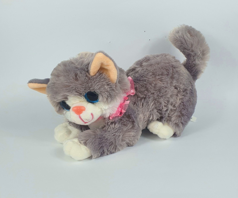 М'яка іграшка сіра кішка маленька музична 20 х 13 см