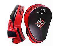 Лапи боксерські PowerPlay 3041 Чорно-Червоні PU [пара], фото 1