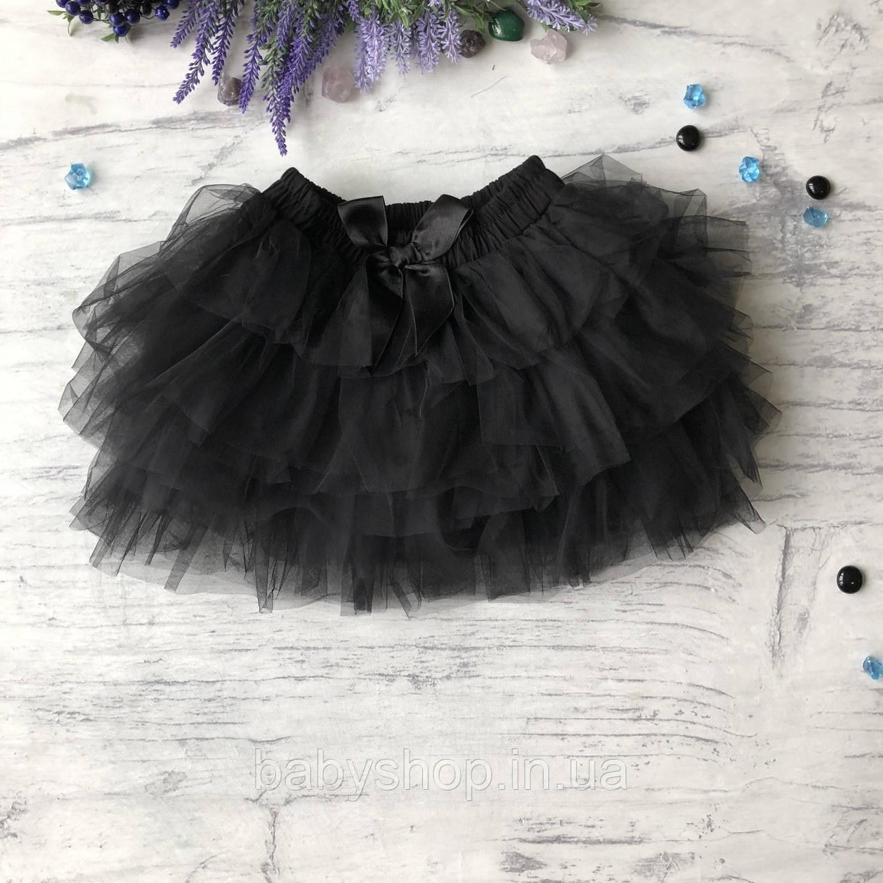 Пышная черная юбка на девочку Breeze. Размер 98 см, 104 см, 110 см, 116 см, 122 см