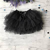 Пышная черная юбка на девочку Breeze. Размер 98 см, 104 см, 110 см, 116 см, 122 см, фото 1