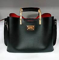 Женская сумка среднего размера из экокожи черного цвета