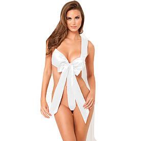 """Новогодний эротический костюм, боди  с большим бантом """"Я твой подарок""""  белый"""
