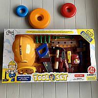 Детский набор инструментов A-Toys с каской, 21 элемент