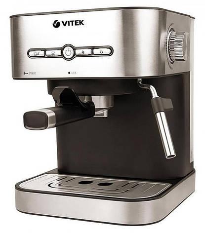 Кофеварка рожковая эспрессо VITEK VT-1526 1.4 л 1050 Вт Нержавеющая сталь, фото 2