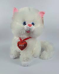 Белая кошка плюшевая игрушка 24 см музыкальная