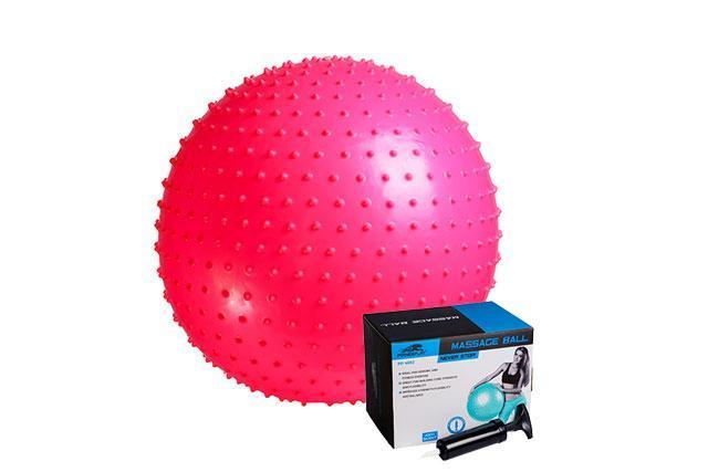 М'яч-масажер для фітнесу PowerPlay 4002 55см Розовий + насос