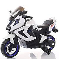 Электромобиль-мотоцикл белый, светящиеся пластиковые колеса, мотор 2*15W аккум 2*6V4.5AH деткам 3-8 лет