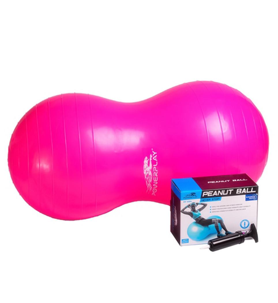 М'яч-горіх для фітнесу PowerPlay 4004 (90*45см) Розовий + насос