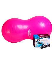 М'яч-горіх для фітнесу PowerPlay 4004 (90*45см) Розовий + насос, фото 1