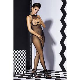 """Эротический бодистокинг с открытой грудью черный комбинезон сетка с вырезами в интимных зонах для  """"Mon Chéri"""""""