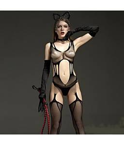 """Черный боди сетка с чулками бодистокинг сексуальный наряд для секса игр  """"For You"""""""