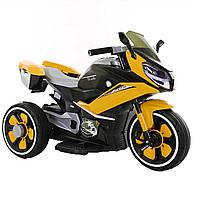Детский электромобиль трицикл желтый пластиковые колеса от 3-х до 5-ти мотор 2*20W с МР3
