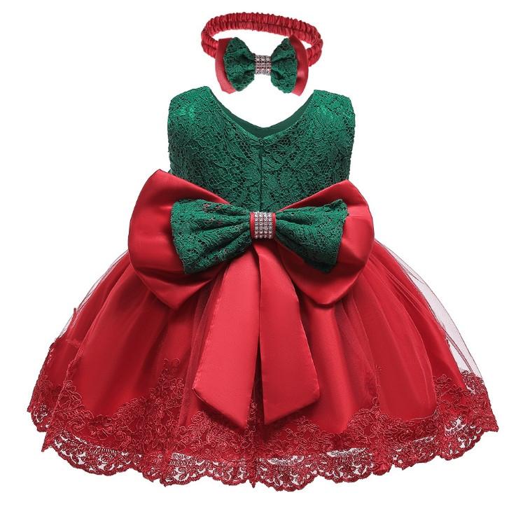 Нарядное детское платье на девочку с бантом красно-зеленое  1-5 лет