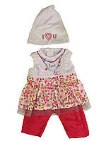 Кукольный наряд DBJ-455-468-4(В цветочек с шапочкой)