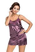 Нічна піжама із атласу DONNA Eva 1/2 (топ і шорти) розмір М/38,  колір - сливова
