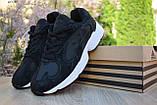 Кроссовки в стиле Adidas Yung  черные на белой, замш, фото 2