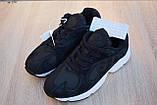 Кроссовки в стиле Adidas Yung  черные на белой, замш, фото 4