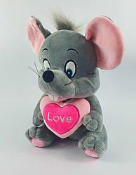 Музыкальная мышка с сердцем размер 27 см