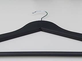 """Плечики  длиной 44 см деревянные """"Premium"""" матового черного цвета, фото 2"""