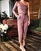 Стильный нарядный брючный костюм классический топ на одно плечо прямые брюки айвори белый, фото 3