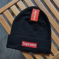Шапка зимняя в стиле Supreme черная