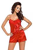 Нічна піжама із атласу DONNA Eva 1/2 (топ і шорти) розмір S/36,  колір - червона
