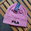 Зимняя шапка в стиле fila розовая