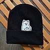Зимняя шапка черная с котиком