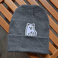 Зимняя шапка с котиком серая