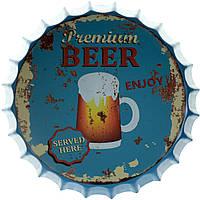 """Металлическая / ретро табличка """"Премиум Пиво (Подается Здесь) / Premium Beer (Served Here)"""""""