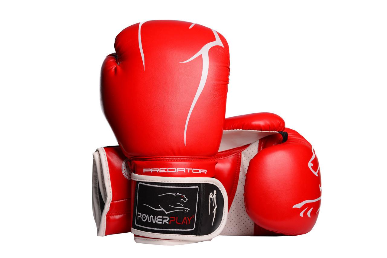 Перчатки для кикбоксинга 14 унций PowerPlay 3018 красные