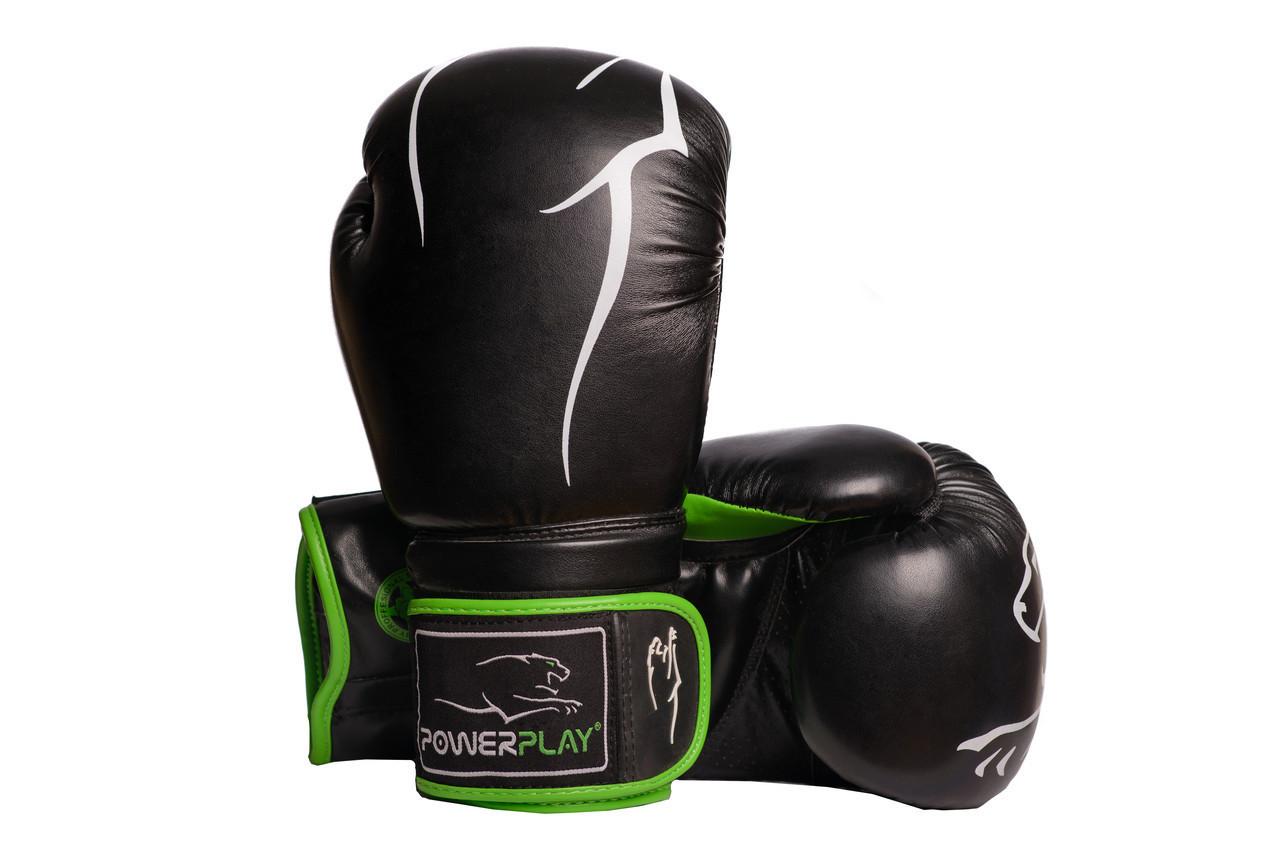 Боксерські рукавиці PowerPlay 3018 Чорно-Зелені 12 унцій