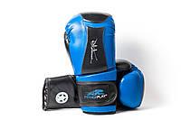 Боксерські рукавиці PowerPlay 3020 Синьо-Чорні [натуральна шкіра] + PU 14 унцій, фото 1