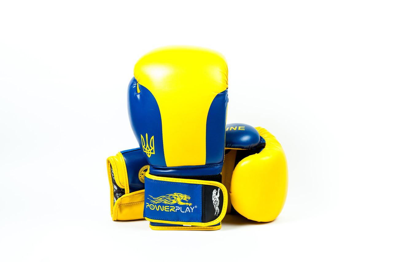 Боксерські рукавиці PowerPlay 3021 Ukraine Жовто-Сині 14 унцій