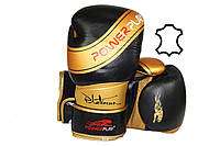 Боксерські рукавиці PowerPlay 3023 Чорно-Золоті [натуральна шкіра] 12 унцій, фото 1