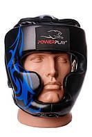Боксерський шолом тренувальний PowerPlay 3048 Чорно-Синій XL, фото 1