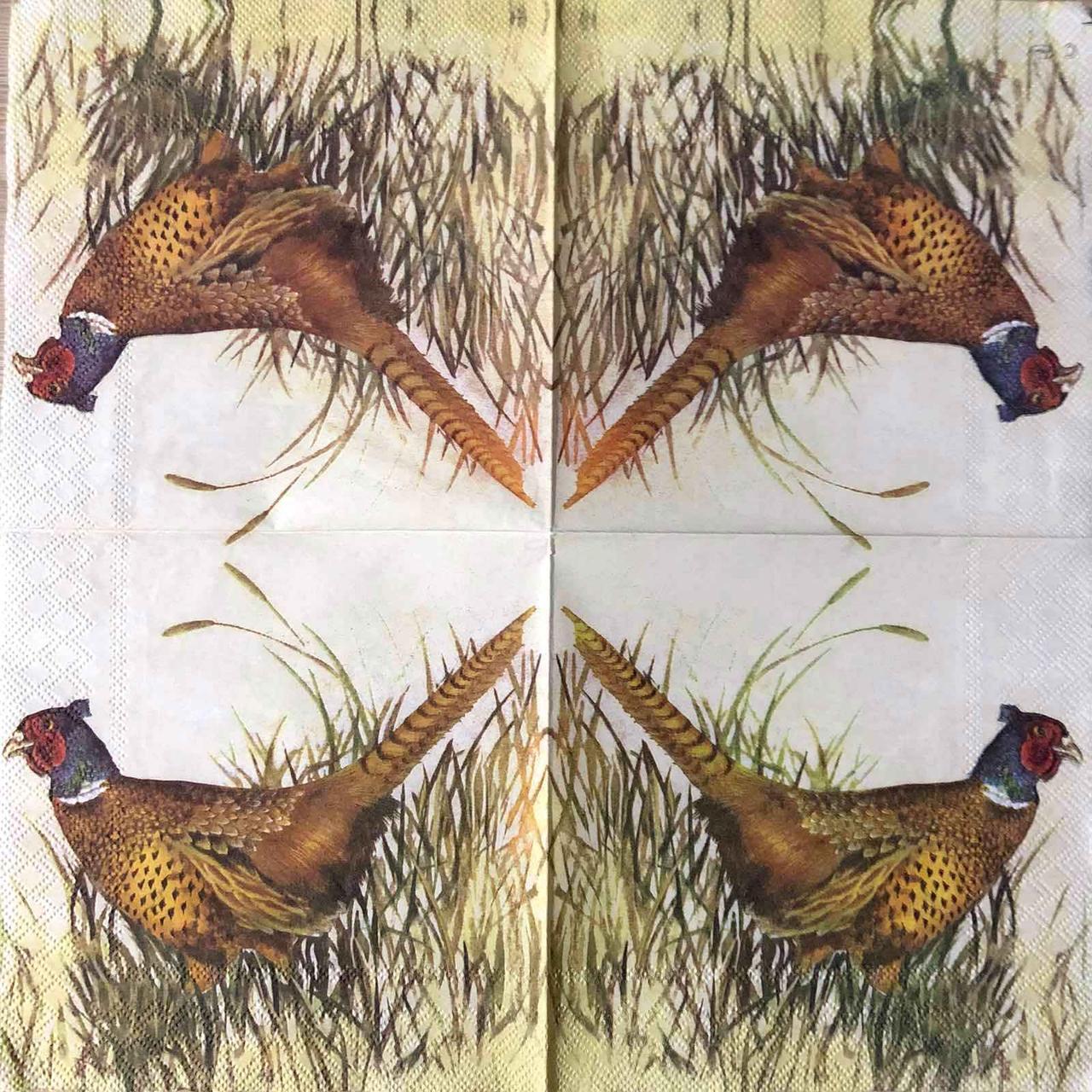 "Салфетка декупажная 33x33 см 7 ""Цесарка охота Природа Птицы Трава"" Серветка для декупажу"