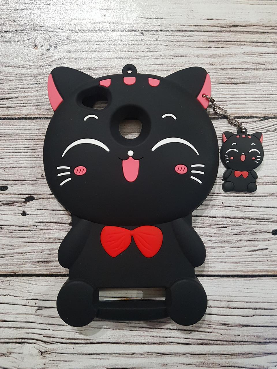 Объемный 3D силиконовый чехол для Xiaomi Redmi 4A Кошечка черная