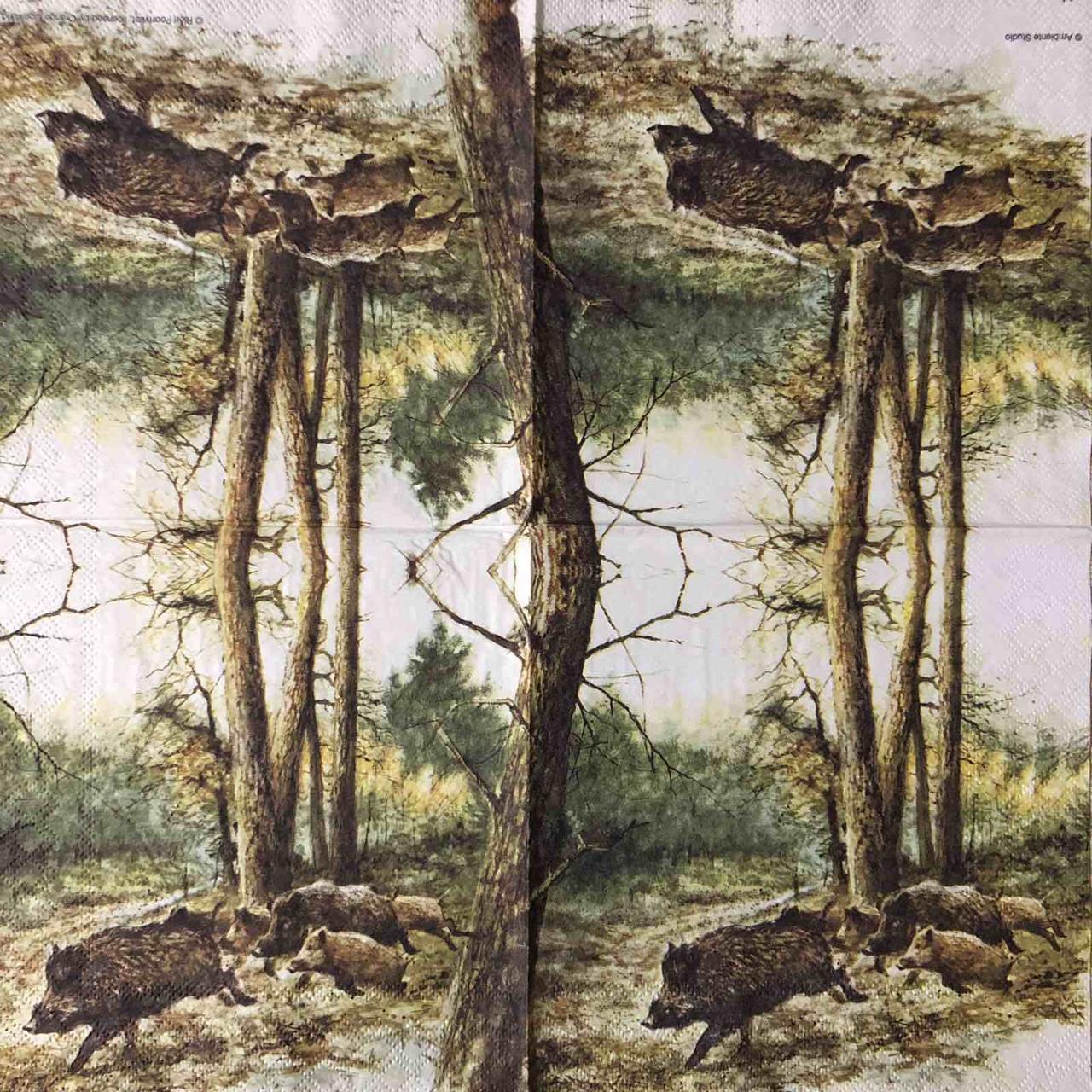 """Салфетка декупажная 33x33 см 7 """"Дикие кабаны охота Природа Лес"""" Серветка для декупажу"""