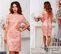 Нарядное красивое атласное платье с ажурным кружевом арт 2907