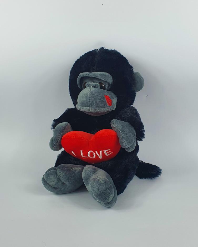 Дитяча іграшка мавпочка 25 см із серцем зі звуковими ефектами розмір