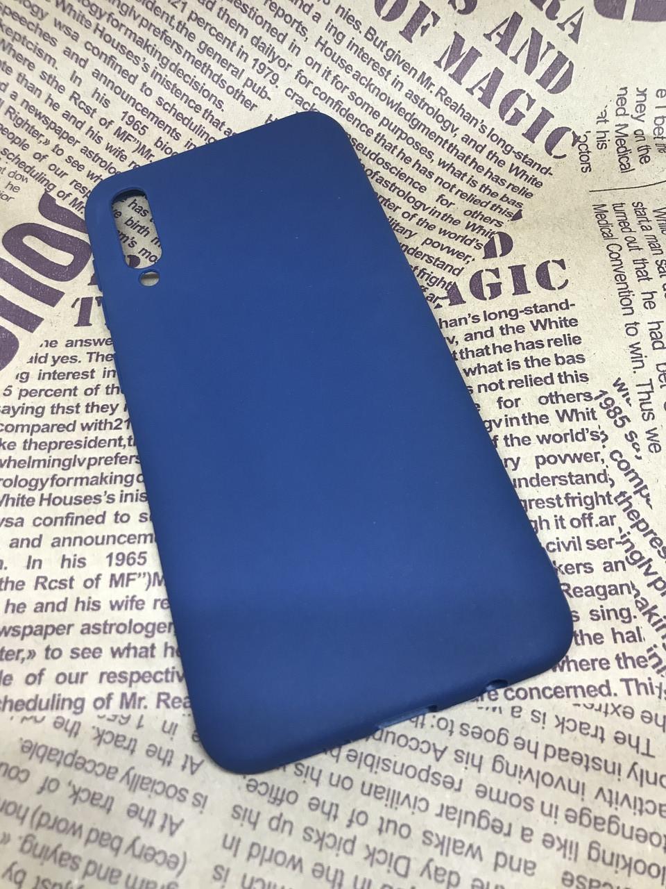 Samsung Galaxy A30S 2019 (A307F) матовый цветной силиконовый ультратонкий чехол/ бампер/ накладка синий