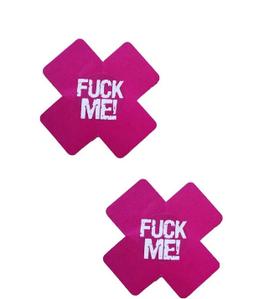 """Наклейки на грудь Пэстисы """"Fuck Me"""" Розовые"""